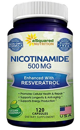 Nicotinamide with Resveratrol – NAD+ Booster (120 Veggie Capsules) – Vitamin B3 500mg (Niacinamide Flush Free) – Supplement Pills to Support NAD, Anti Aging DNA Repair, Skin Cell Health & Energy
