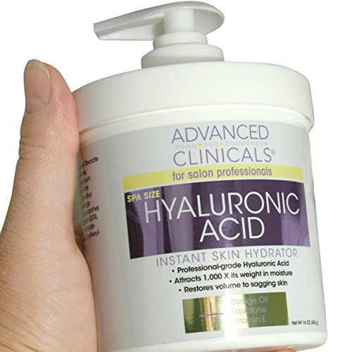 Advanced Clinicals Anti-aging Hyaluronic Acid Cream for face, body, hands. Instant hydration for skin, spa size. (16oz)