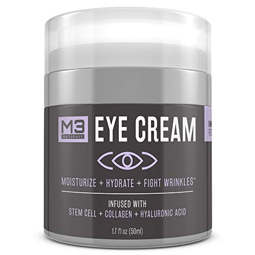 M3 Naturals Eye Cream Infused with Collagen Stem Cell and Hyaluronic Acid for Puffiness Wrinkles Dark Circles Under Eye Bags Fine Lines Anti Aging Treatment Healthy Skin Care Moisturizer