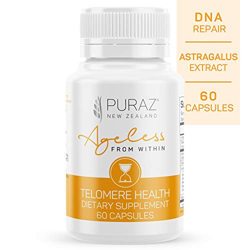 Puraz Telomere Supplements with Potent Astragalus Root Extract for Superior Immune System Support, Anti-Aging and DNA Repair – Pure Telomerase Enzyme for Telomere Lengthening and Support – 60 Capsules