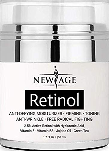 (2 Pack) New Age Retinol Cream Moisturizer Serum with Hyaluronic Acid, Vitamin E – Anti Aging Formula Reduces Wrinkles, Fine Lines-Day and Night Cream 1.7 Fl Oz