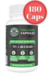 Organic Collagen Pills Supplement – 180 Count Organic Collagen Caps – Organic, Grass Fed Bovine & Organic Chicken Bone Broth. Collagen 1 2 3 Capsules, Left Coast Performance