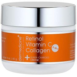 Vitamin C + Retinol + Collagen | Super Charged Anti-Aging Cream for Face | Pharmaceutical Grade Quality | Helps Smooth & Plump Fine Lines & Wrinkles & Brightens for Younger Skin | 2 oz / 60 g