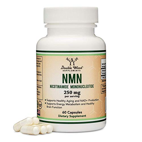NMN Supplement 250mg Per Serving (Nicotinamide Mononucleotide), Third Party Tested, to Boost NAD+ Levels Similarly to Riboside for Anti Aging by Double Wood Supplements (125mg Per Cap, 60 Capsules)