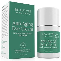 BeautyRx by Dr. Schultz Eye Cream for Dark Circles, Bags, Wrinkles & Puffiness, Hyaluronic Acid & Green Tea, 1 oz