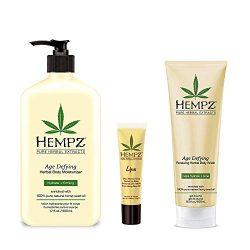 Hempz lotion Age Defying Moisturizer, Body Wash, Herbal Lip Balm with Hemp Oil Gift Set