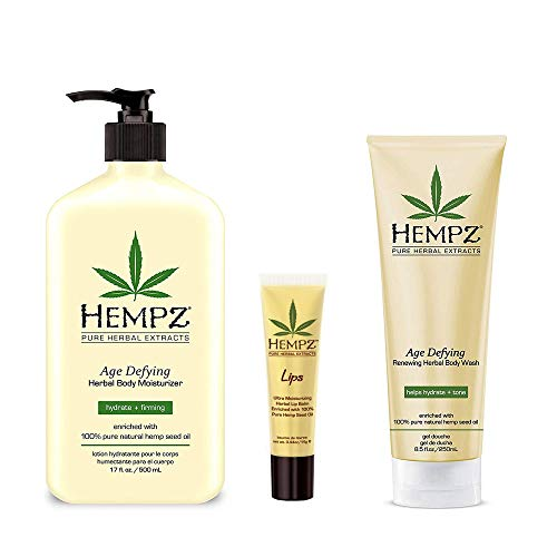 Hempz lotion Age Defying Moisturizer, Body Wash, Herbal Lip Balm with Hemp Oil Gift Set