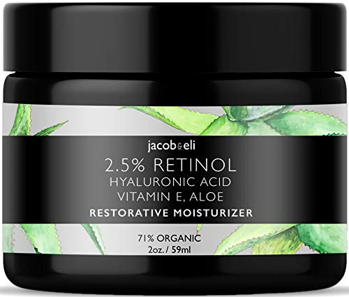 Rich Retinol Cream – Top Influencer – Organic & Vegan – Luxury Quality Moisturizer for Face & Eye Packed with Organic Retinol, Vitamin E, Jojoba Oil, Hyaluronic Acid, Shea Butter, Organic Aloe & More.