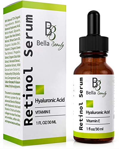 Anti Aging Hyaluronic Acid and Retinol Serum 2.5% for Face with Vitamin E For Oily Acne Skin – Best Retinol Facial Moisturizer – Reduce Fine Lines – Wrinkle – Dark Spots – Pure Organic Ingredients