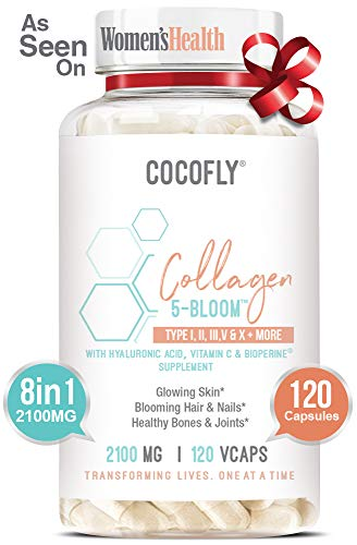 COCOFLY Hydrolyzed Multi Collagen 5 Bloom Peptides Capsules – 2100 mg Grass Fed Supplements (Type I, II, III, V, X) + Hyaluronic Acid, Vitamin C, Bioperine, Super Pills for Women Anti-Aging, Skin Hair