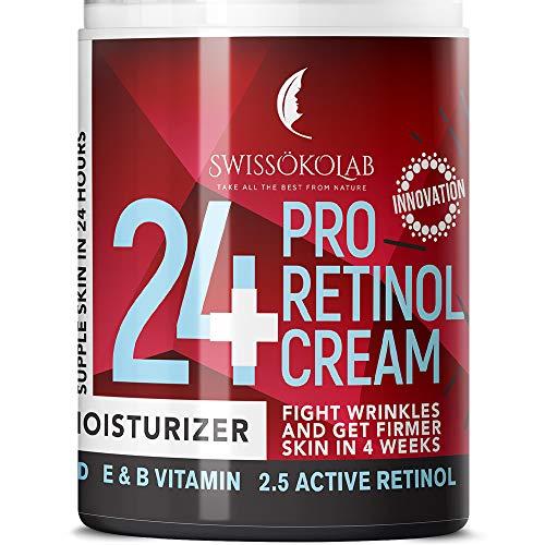 Retinol Cream for Face Eye Neck Area – Day & Night Retinol Moisturizer – Anti Aging Face Cream with 2.5% Active Retinol Hyaluronic Acid – Firming Anti Wrinkle Cream for Men and Women