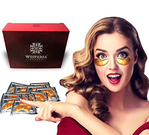 Wisteria Beaute Luxury 24k Gold Anti-Aging Eye Masks, Under Eye Patches/Under Eye Masks for Puffy Eyes & Under Eye Bags Treatment, Improves Elasticity (15 Pairs)