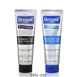 Advanced Day & Over Night Face Cream Dermasil Platinum Dermatologist Recommended Anti-Aging Treatment, Nourishing & Moisturizing 2-in-1 Relief, Protection & Repair Cream for Dry Skin (Pack of 2)