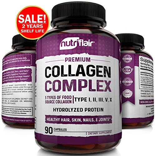 NutriFlair Multi Collagen Pills – Type I, II, III, V, X – Premium Collagen Peptides Complex for Anti-Aging and Healthy Joints, Hair, Skin, and Nails – Hydrolyzed Protein Supplement for Women and Men
