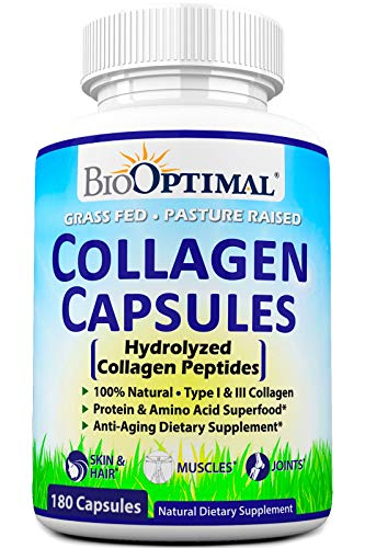 BioOptimal Collagen Pills – Collagen Supplements, Grass Fed, 180 Capsules, Non-GMO, for Women & Men, Benefits Skin, Hair, Nails & Joints, Collagen Capsules, Premium Quality