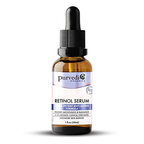 Retinol Serum With Hyaluronic Acid – Organic 2.5% Anti Aging Face Serum with Vitamin C & Retinol A For Skin Brightening – Ultra Potent Retinol Hyaluronic Acid Serum