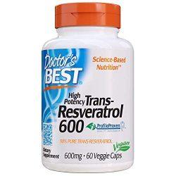Doctor's Best Trans-Resveratrol 600, Non-GMO, Vegan, Gluten Free, Soy Free, 600 mg, 60 Veggie Caps