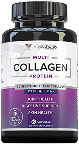 Multi Collagen Pills with Hyaluronic Acid & Vitamin C: 5 Type Hydrolyzed Collagen Protein Peptides, Types I II III V X, 30 Servings, 90 Capsules