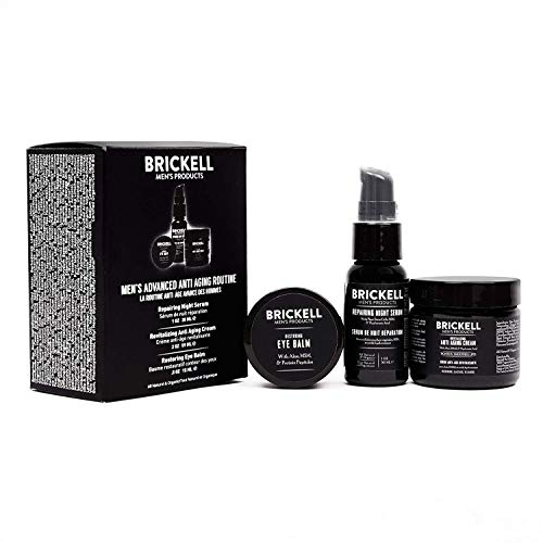 Brickell Men's Advanced Anti-Aging Routine, Night Face Cream, Vitamin C Facial Serum and Eye Cream, Natural and Organic, Unscented