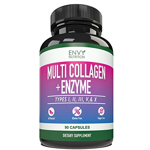 Multi-Collagen + Enzyme Capsules (Types I, II, III, V and X) – Collagen peptides Supplement for Skin, Joints, Heart, Muscle, Bone and Healthy Digestion – 90 Collagen Capsules.