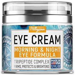 MARYANN Organics Eye Cream – Natural Formula with Hyaluronic Acid, Vitamin E & Aloe Vera – Made in USA – Anti Aging Cream for Women – Reduce Dark Circles, Puffiness, Under Eye Bags, Wrinkles – 1,7 OZ