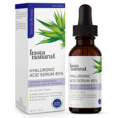 Hyaluronic Acid 85% Face Serum – Natural Anti Aging Formula for Fine Lines & Wrinkles to Hydrate, Moisturize & Plump Dull, Dry Skin – With Niacinamide & NASA Stem Cell Technology – InstaNatural – 1 oz