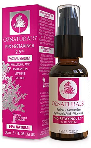 OZNaturals Anti Aging Retinol Serum: Pro-Retaxinol 2.5% Anti Wrinkle Serum for Face with Astaxanthin, Hyaluronic Acid & Vitamin E – Reduce Wrinkles, Fine Lines, Dark Spots, Acne, Sun Damage – 1 Fl Oz
