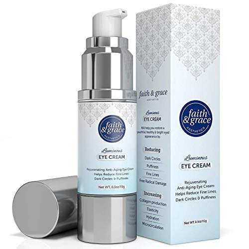 Faith and Grace Anti Aging Eye Cream (MADE in USA) BEST for Improving Dark Circles, Fine Lines and Puffiness. Reduce Breakdown of Collagen, Soothe and Rejuvenate for a Healthy Youthful Appearance