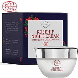O Naturals Organic Advanced-Repair Hydrating Rosehip Oil Night Face & Neck Cream. Face Moisturizer. Anti-Aging Moisturizes Dry Skin Anti-Wrinkles Reduce Scars Boost Collagen Vitamin E Non Greasy 1.7oz
