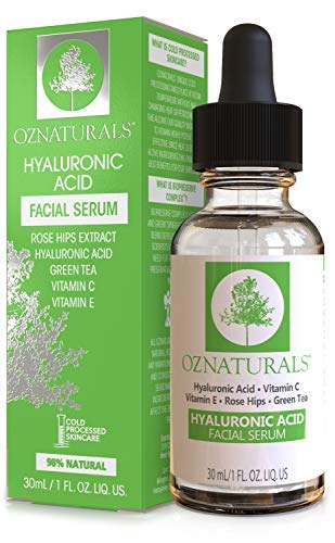 OZNaturals Hyaluronic Acid Serum for Face: Hyaluronic Facial Serum with Vitamin C and E – Antioxidant Moisturizer Serum to Hydrate, Plump Skin – Anti Aging and Brightening Skin Care Serums – 1 Fl Oz