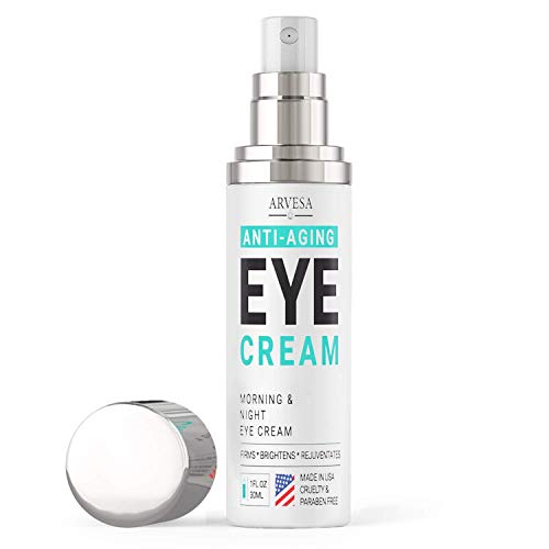 Anti Aging Eye Cream For Dark Circles and Puffiness – with Hyaluronic Acid – Vitamin C + E – Eye Serum to Reduce Eye Bags – Wrinkles – Fine Lines – Puffiness – for Women & Men – Made in USA