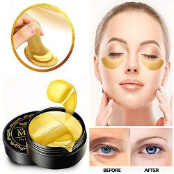 Under Eye Patches, 24K Gold Eye Mask, Eye Gel Pads Collagen Eye Treatment Masks Reduces Wrinkles and Puffiness Lighten Dark Circles Moisturizing and Anti Aging 60PCS