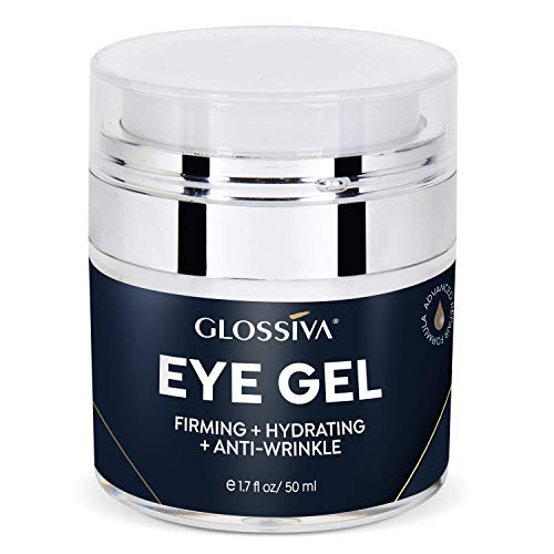 Glossiva Eye Gel, Hyaluronic acid for Wrinkles, Fine Lines, Dark Circles, Puffiness, Under Eye Bags – Hydrating, Firming, Rejuvenates Skin – Advanced Repair Formula 1.7 Fl Oz