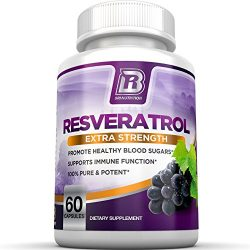 BRI Resveratrol – 1200mg Potent Trans-Resveratrol Natural Antioxidant Supplement with Green Tea and Quercetin Promotes Anti-Aging, Heart Health, Brain Function and Immune System