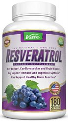 100% Pure Resveratrol 1000mg Per Serving Max Strength 180 Capsules Antioxidant Supplement Extract Natural Trans-Resveratrol Pills for Heart Health and Weight Loss Made in USA