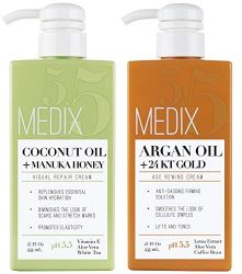 Medix 5.5 Argan Cream and Coconut Cream Set. Medix 5.5 Argan Cream with 24kt Gold Reduces Wrinkles and Firms Sagging Skin. Coconut Cream Moisturizes Damaged, Dry Skin. Two 15oz