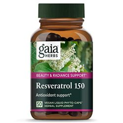 Gaia Herbs Resveratrol 150, Vegan Liquid Capsules, 50 Count – Antioxidant & Cardiovascular Support for Healthy Aging, Highly Concentrated Trans-Resveratrol