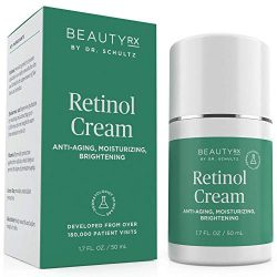 BeautyRx by Dr. Schultz Retinol Cream Moisturizer 2.5% for Face & Eyes for Wrinkle, Fine Lines & Dark Spots w/ Hyaluronic Acid & Vitamin A. Best Night & Day Anti-Aging Treatment for Women & Men 1.7 oz