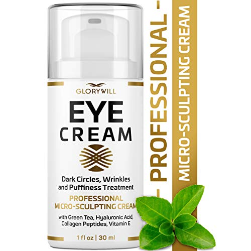 Professional Eye Cream – Anti-Aging & Wrinkle Cream for Women & Men – Made in USA – Reduces Dark Circles, Under-Eye Bags & Puffiness – Eye Care with Hyaluronic Acid & Vitamin E (1 oz)