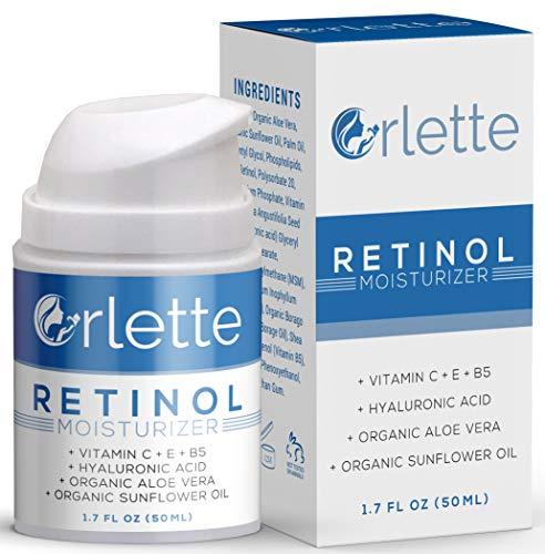 Orlette Retinol Moisturizer – Anti Aging Firming Facial Cream – Reduce Wrinkles, Dark Spots, Fine Lines, Sun Damage – Hydrating Formula with Organic Aloe Vera, Sunflower Oil, Hyaluronic Acid – 50ml
