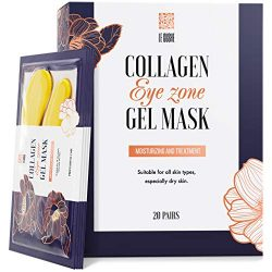 Under Eye Patches – 24Karat Gold Under Eye Mask Anti-Aging Hyaluronic Acid Collagen Under Eye Pads Reducing Dark Circles & Wrinkles Treatment Gel Bags, 20 Pairs