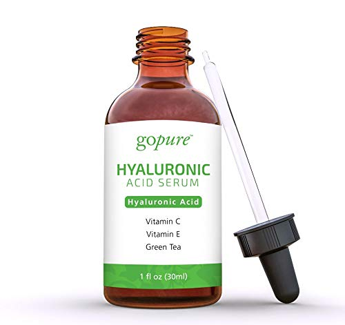 goPure Hyaluronic Acid Serum for Face – Anti Aging Serum with Vitamin C & E, Green Tea – Anti Wrinkle Hydrating Serum – Facial Moisturizer Collagen Serum – Helps Hydrate and Plump the Skin