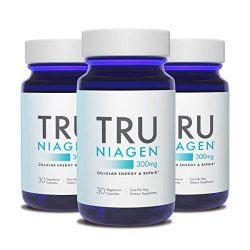 TRU NIAGEN Nicotinamide Riboside NAD Booster for Cellular Repair & Energy (NSF Certified for Sport) – 300mg Vegetarian Capsules, 300mg Per Serving – 30 Day Bottle (3 Pack)