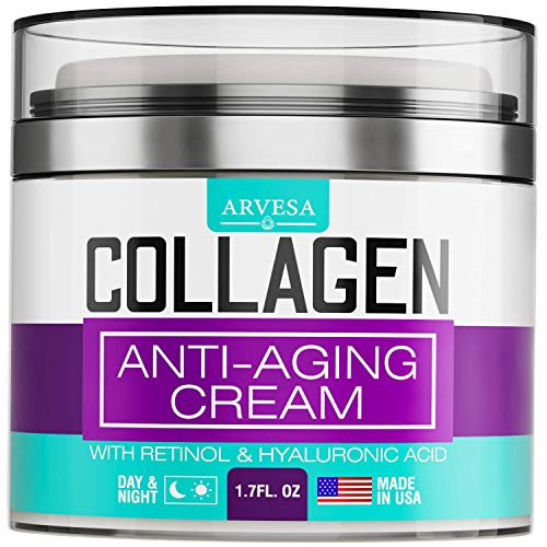 Collagen Cream – Anti Aging Face Moisturizer – Day & Night Wrinkle Cream – Boosted with Hyaluronic Acid & Vitamin A+E – Natural Firming Cream for Fine Lines & Wrinkles – Made in USA (1.7 FL OZ)