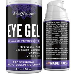Micro-Sculpting Anti-Aging Eye Gel – Natural & Made in USA – Under Eye Cream for Dark Circles and Puffiness – Anti-Wrinkle & Fine Line Reduction Effect – Rich Wrinkle Cream for Puffy Eyes & Eye Bags