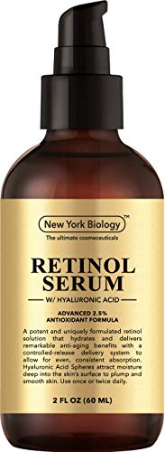 New York Biology Super Retinol Serum 2.5% with Hyaluronic Acid – Professional Grade Anti Aging Face Serum For Wrinkles and Fine Lines – Huge 2 oz