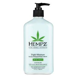 Hempz Natural Triple Moisture Herbal Whipped Body Creme with 100% Pure Hemp Seed Oil for 24-Hour Hydration – Moisturizing Vegan Skin Lotion with Yangu Oil, Peach and Grapefruit – Enriched Moisturizer