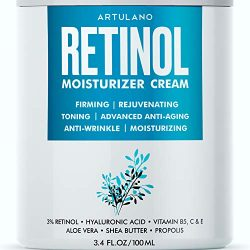 Anti Aging Retinol Moisturizer Cream for Face – Eyes & Neck Area – Day & Night Facial Cream with 3% Active Retinol Hyaluronic Acid – Firming Anti Wrinkle Cream for Women and Men – 3.4 oz (3.4 FL OZ)