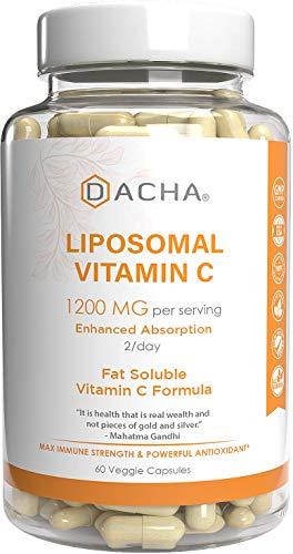 DACHA Nutrition Natural Liposomal Vitamin C – Immune System & Collagen Booster, High Absorption Fat Soluble VIT C, Buffered 1200mg, Anti Aging Skin Vitamins, Anti Inflammatory, Sunflower Lecithin