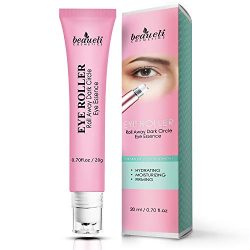 Eye Serum & Eye Roller for Anti Aging Dark Circles Puffiness Under Eye Bags Wrinkles Eye Cream Massager with Peptide Hyaluronic Acid Niacinamide 0.7 fl.oz by beaueli